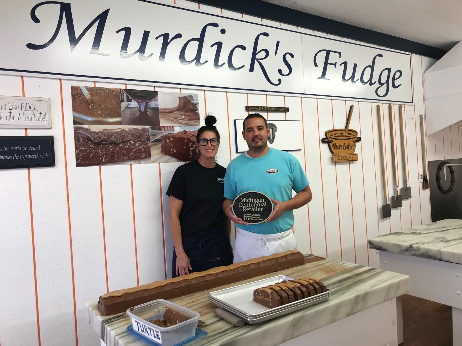 Kristine and Aaron Murdick own and operate Murdicks Famous Fudge in Mackinaw City.